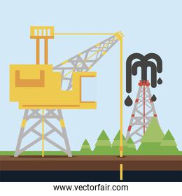 fracking refinery towe oil rig exploration and production