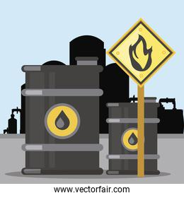 fracking extraction oil barrel tanks flammable substance sign