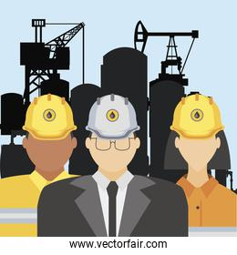 fracking oil tower rig manager and workers characters