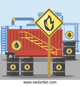 fracking container storage oil barrels with flammable substance sign