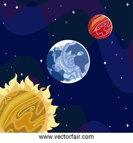 space sun mars and earth planet galaxy