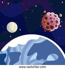 space earth planet moon and asteroids starry sky