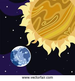 space earth planet sun stars cosmos astronomy
