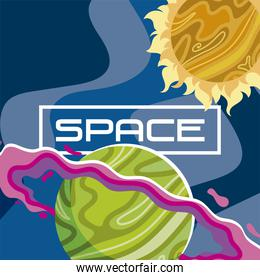 space saturn planet sun cosmos abstract design background