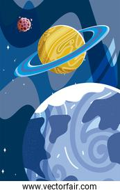 space earth planet saturn and asteroid explore galaxy