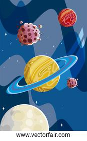 space saturn planets asteroids and moon cosmos