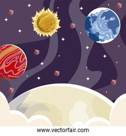 space earth mars planet moon sun and asteroids exploration