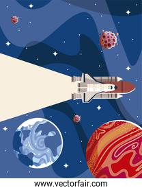 space scene with spaceship planets, stars and galaxies in outer exploration