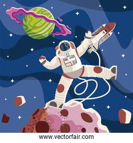 space astronaut spaceship planet and asteroid exploration