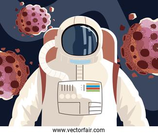 space explorer, cosmonaut or astronaut in spacesuit with asteroids