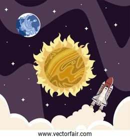 space earth planet sun and shuttle universe galaxy exploration