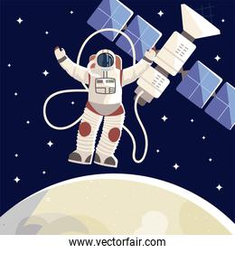 space explorer, astronaut satellite moon universe