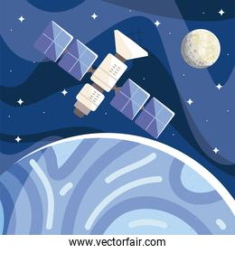 space satellite orbiting planet moon in starry sky, cosmos exploration