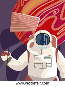 space astronaut with flag planet explore universe