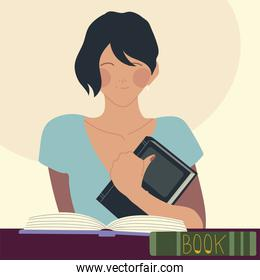 woman read books portrait cartoon design