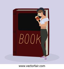 beauty woman with glasses reading a book standing with textbook