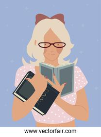 cute woman character read books knowledge