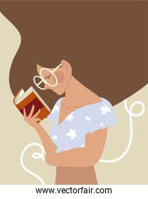 beauty woman with book reading