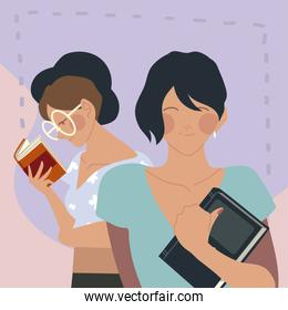 happy female characters reading a books