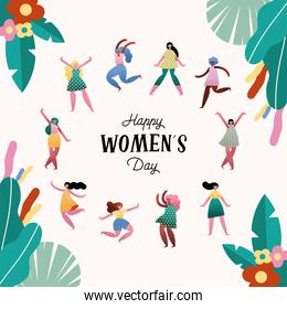 happy womens day lettering card with girls and floral frame
