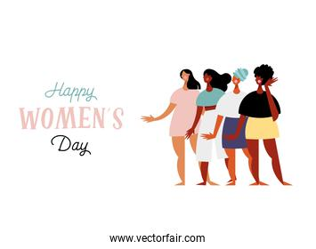 happy womens day lettering card with group of girls characters