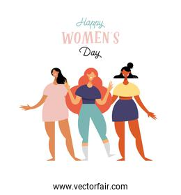 happy womens day lettering card with diversity girls characters