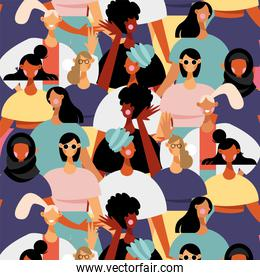 group of diversity women characters pattern