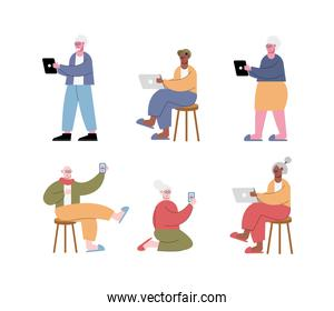 interracial old people using technology characters
