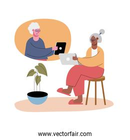 old women using technology in video calling characters