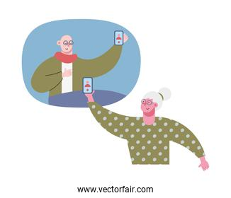 old couple using technology in video calling characters
