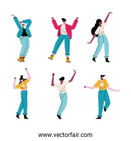 happy young people dancing six avatars characters