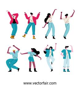 happy young people dancing eight characters