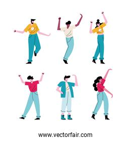 happy young people dancing six characters
