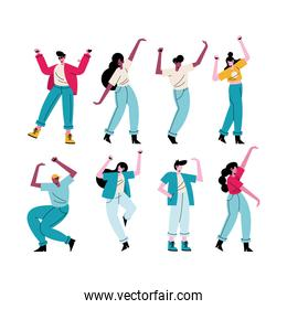 happy young people dancing eight avatars characters