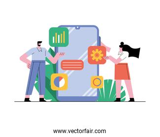 business couple with smartphone technology icons
