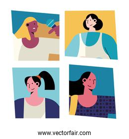 bundle of four women different professions avatars characters
