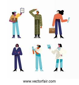 bundle of six women different professions characters