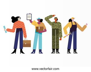 bundle of four women different professions characters