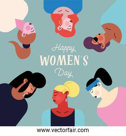 happy womens day lettering with group of six girls characters