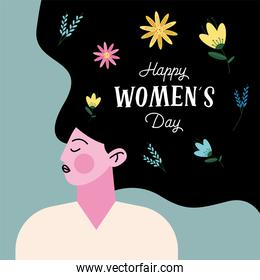 happy womens day lettering with lady character