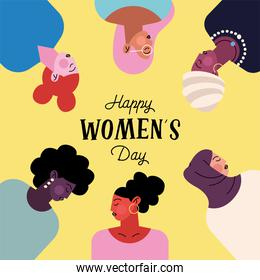 happy womens day lettering with group of six ladies characters