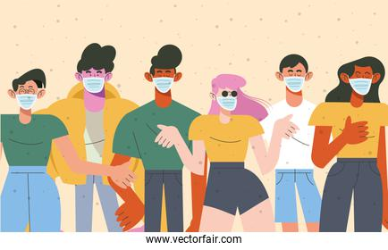 group of six young people wearing medical masks