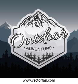 outdoor adventure lettering emblem with mountains in landscape