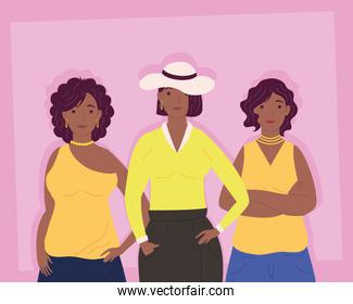 young afro women avatars characters