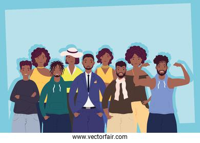 group of nine persons afro characters