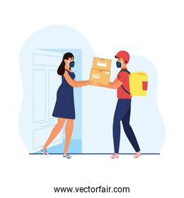 delivery service worker wearing medical mask and customer