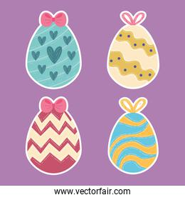 happy easter celebration card with four eggs painted