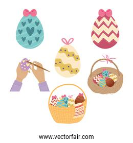 happy easter celebration card with hands painted eggs and basket