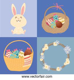 happy easter celebration card with rabbit and eggs in baskets