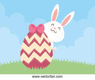 rabbit with egg painted and bow pink happy easter celebration